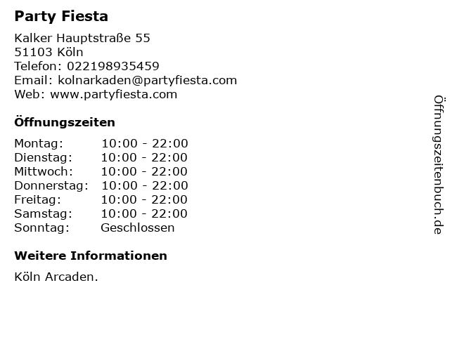 Party Fiesta in Köln: Adresse und Öffnungszeiten