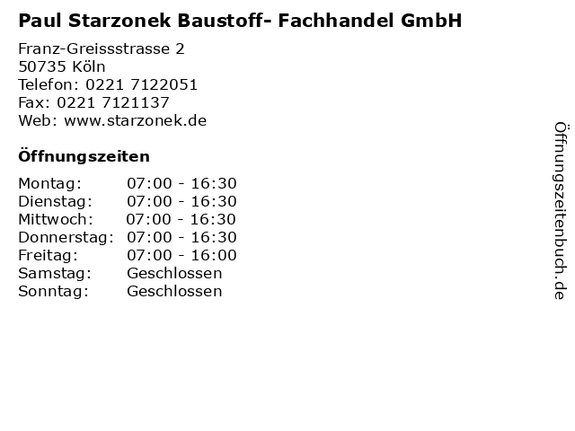 Paul Starzonek Baustoff- Fachhandel GmbH in Köln: Adresse und Öffnungszeiten