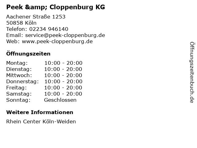 Peek & Cloppenburg KG in Köln: Adresse und Öffnungszeiten