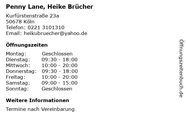 Penny Lane, Heike Brücher in Köln: Adresse und Öffnungszeiten