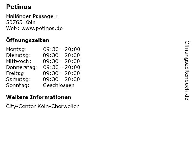 Petinos in Köln: Adresse und Öffnungszeiten