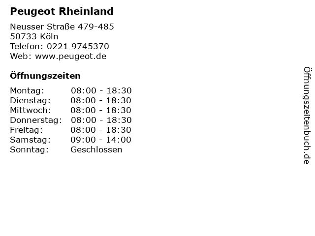 Peugeot Rheinland in Köln: Adresse und Öffnungszeiten