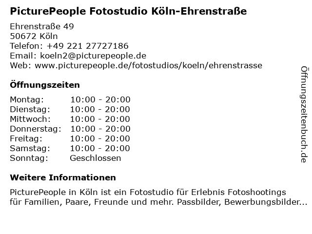 PicturePeople Fotostudio Köln-Ehrenstraße in Köln: Adresse und Öffnungszeiten