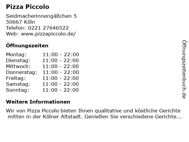 Pizza Piccolo in Köln: Adresse und Öffnungszeiten