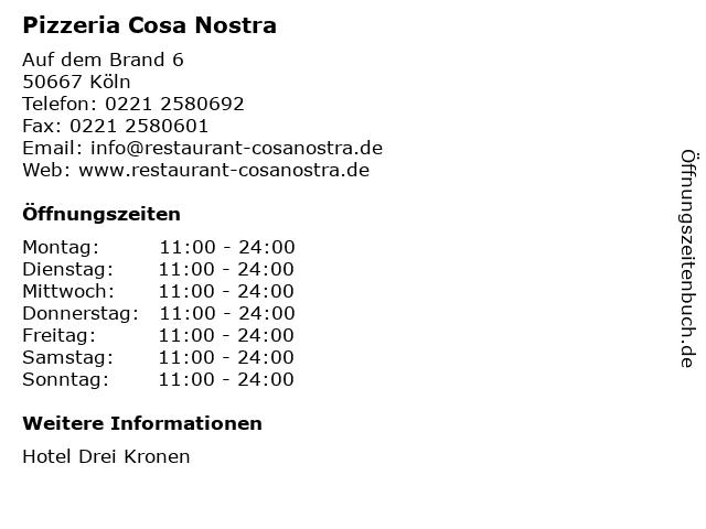Pizzeria Cosa Nostra in Köln: Adresse und Öffnungszeiten