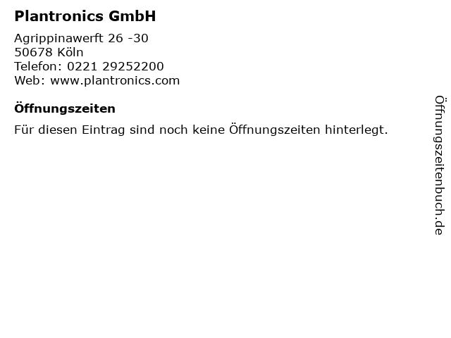 Plantronics GmbH in Köln: Adresse und Öffnungszeiten