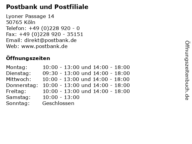 Postbank und Postfiliale in Köln: Adresse und Öffnungszeiten