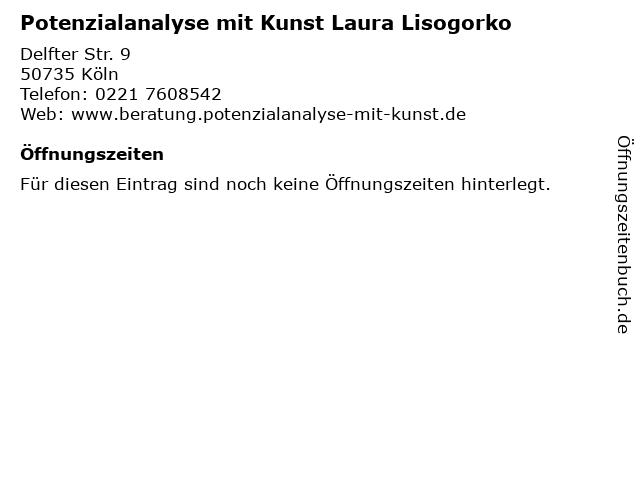 Potenzialanalyse mit Kunst Laura Lisogorko in Köln: Adresse und Öffnungszeiten
