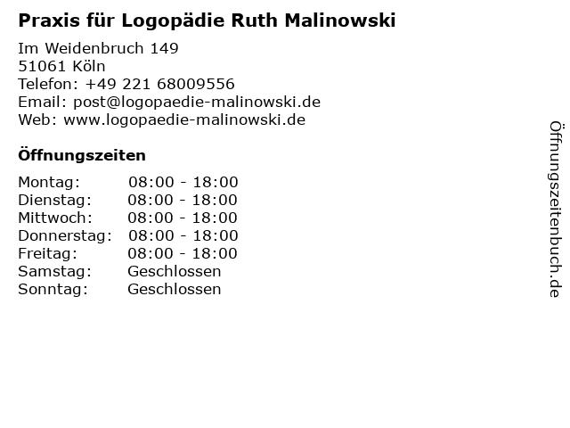 Praxis für Logopädie Ruth Malinowski in Köln: Adresse und Öffnungszeiten