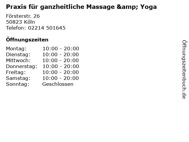 Praxis für ganzheitliche Massage & Yoga in Köln: Adresse und Öffnungszeiten