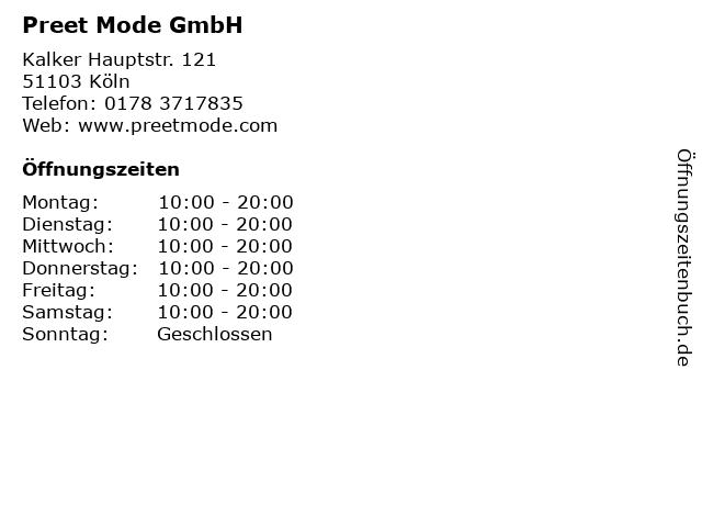 Preet Mode GmbH in Köln: Adresse und Öffnungszeiten