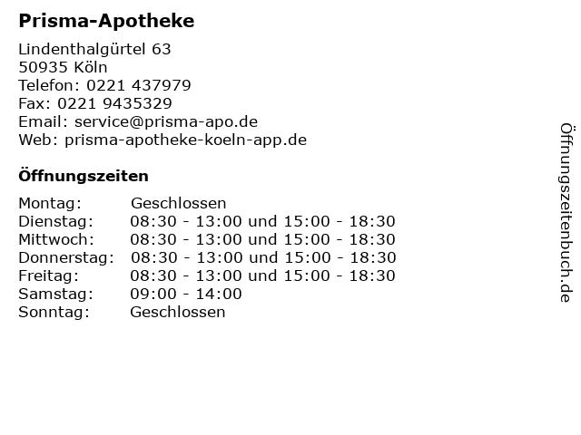 Prisma-Apotheke in Köln: Adresse und Öffnungszeiten