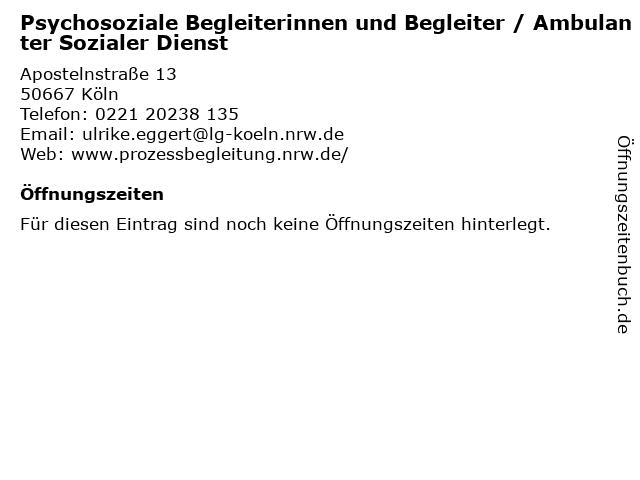 Psychosoziale Begleiterinnen und Begleiter / Ambulanter Sozialer Dienst in Köln: Adresse und Öffnungszeiten