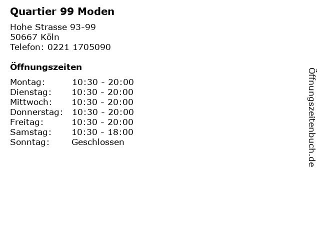 Quartier 99 Moden in Köln: Adresse und Öffnungszeiten