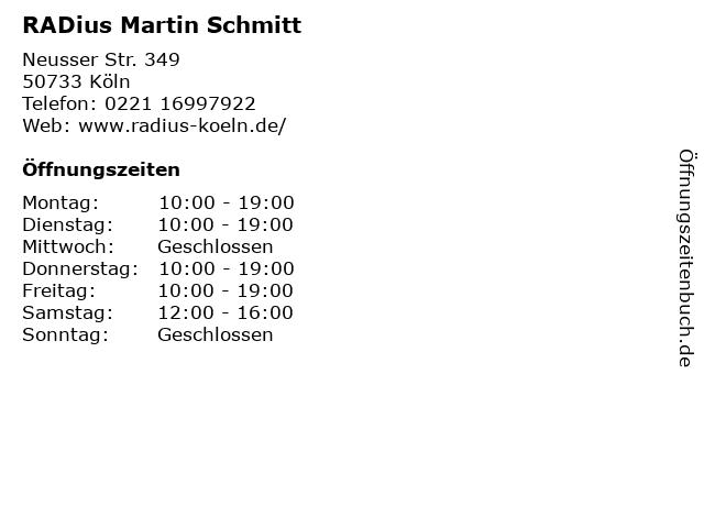 RADius Martin Schmitt in Köln: Adresse und Öffnungszeiten