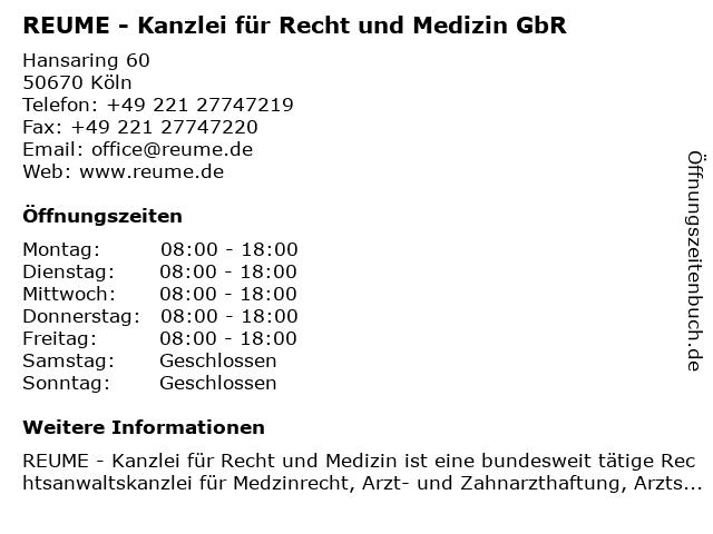 REUME - Kanzlei für Recht und Medizin GbR in Köln: Adresse und Öffnungszeiten