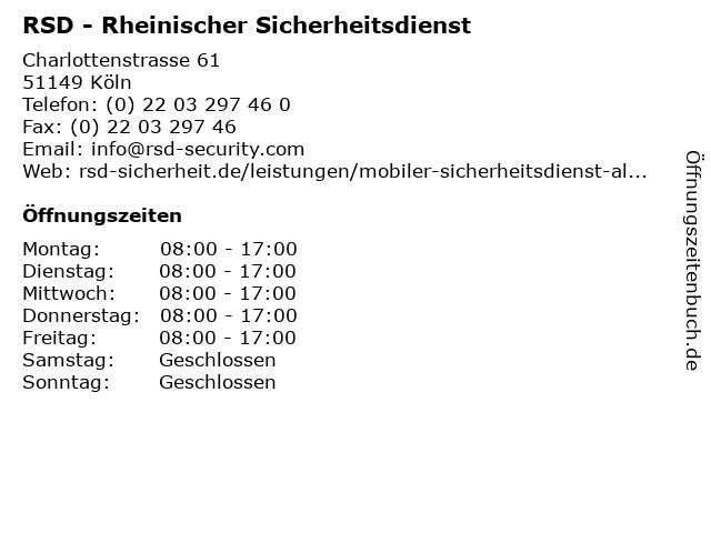 RSD - Rheinischer Sicherheitsdienst in Köln: Adresse und Öffnungszeiten