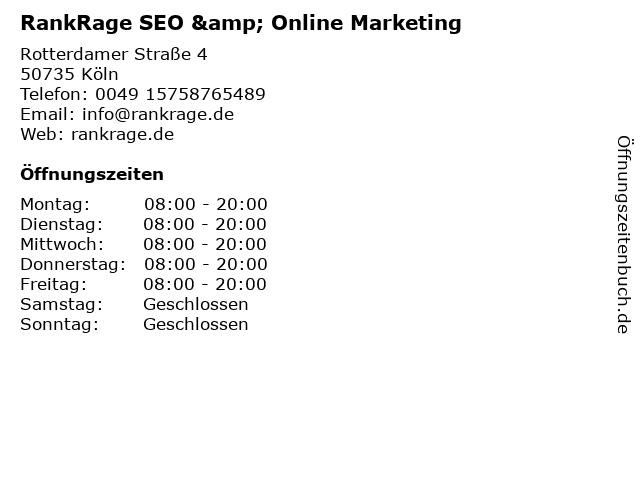 RankRage SEO & Online Marketing in Köln: Adresse und Öffnungszeiten