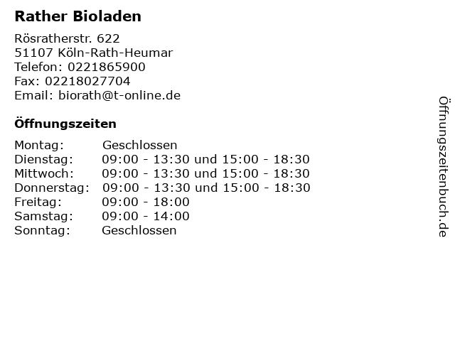 Rather Bioladen in Köln-Rath-Heumar: Adresse und Öffnungszeiten