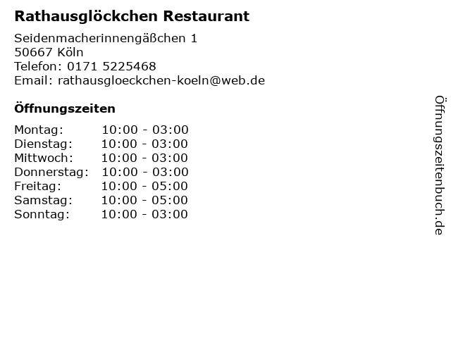 Rathausglöckchen Restaurant in Köln: Adresse und Öffnungszeiten