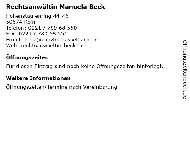 Rechtsanwältin Manuela Beck in Köln: Adresse und Öffnungszeiten