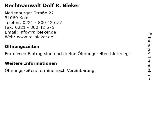 Rechtsanwalt Dolf R. Bieker in Köln: Adresse und Öffnungszeiten