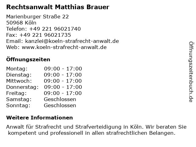 Rechtsanwalt Matthias Brauer in Köln: Adresse und Öffnungszeiten