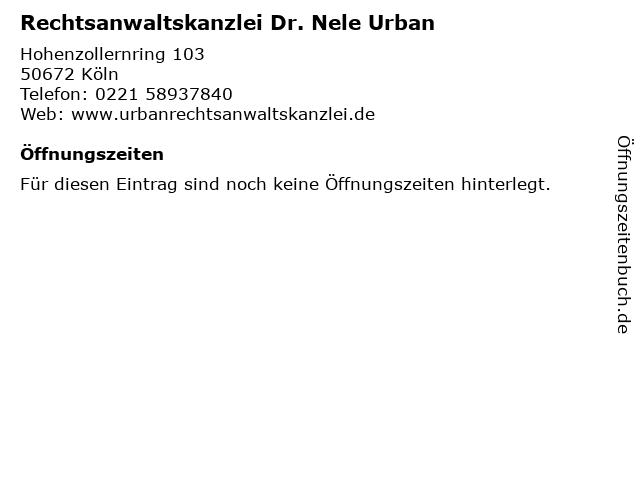Rechtsanwaltskanzlei Dr. Nele Urban in Köln: Adresse und Öffnungszeiten