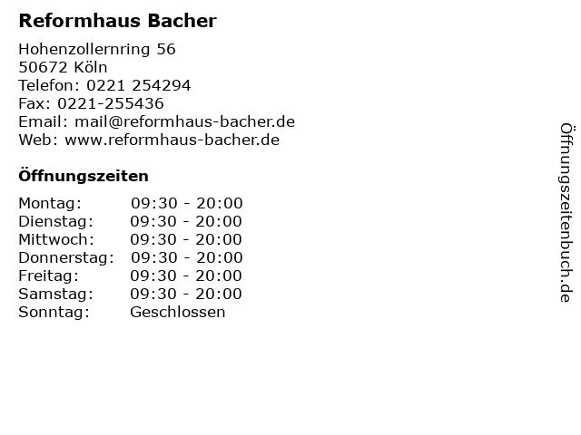 Reformhaus Bacher in Köln: Adresse und Öffnungszeiten