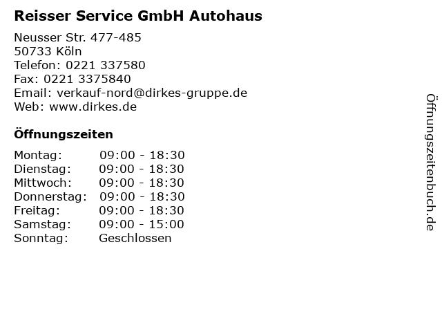 Reisser Service GmbH Autohaus in Köln: Adresse und Öffnungszeiten