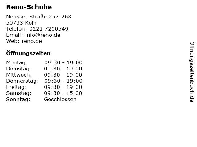 Reno-Schuhe in Köln: Adresse und Öffnungszeiten