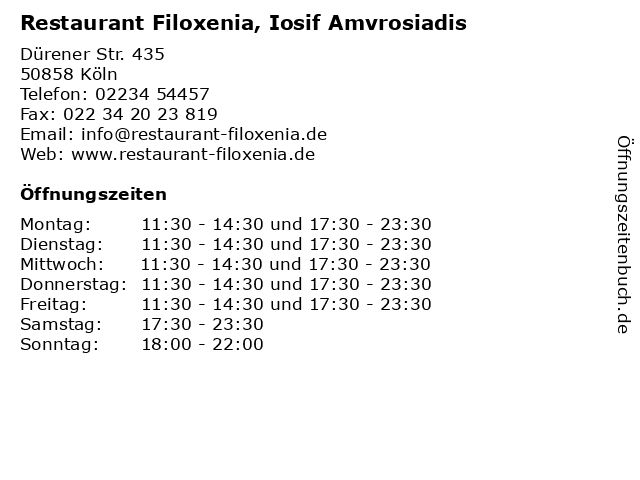 Restaurant Filoxenia, Iosif Amvrosiadis in Köln: Adresse und Öffnungszeiten