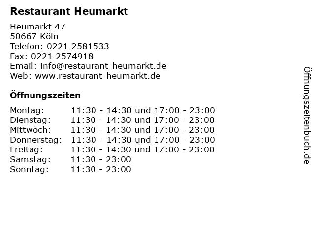 Restaurant Heumarkt in Köln: Adresse und Öffnungszeiten