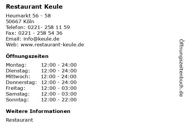 Restaurant Keule in Köln: Adresse und Öffnungszeiten