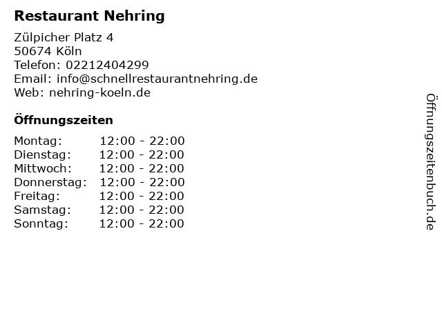 Restaurant Nehring in Köln: Adresse und Öffnungszeiten