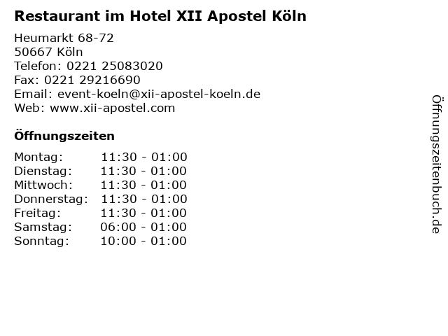 ᐅ Offnungszeiten Restaurant Im Hotel Xii Apostel Koln Heumarkt