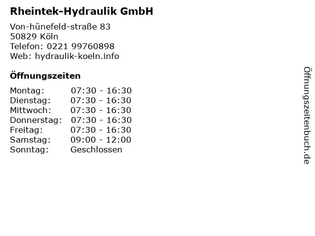 Rheintek Hydraulik GmbH in Köln: Adresse und Öffnungszeiten