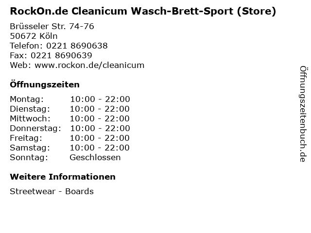 RockOn.de Cleanicum Wasch-Brett-Sport (Store) in Köln: Adresse und Öffnungszeiten