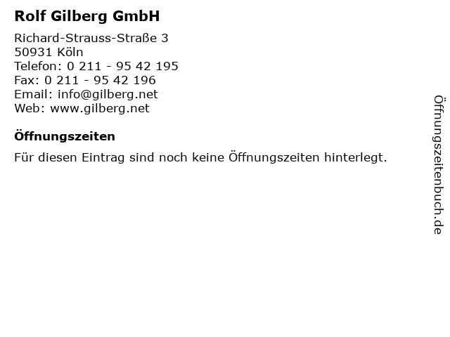 Rolf Gilberg GmbH in Köln: Adresse und Öffnungszeiten