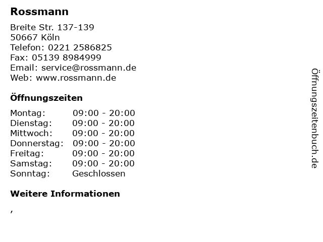 Rossmann in Köln: Adresse und Öffnungszeiten