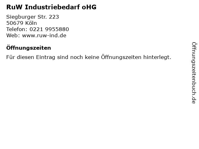 RuW Industriebedarf oHG in Köln: Adresse und Öffnungszeiten