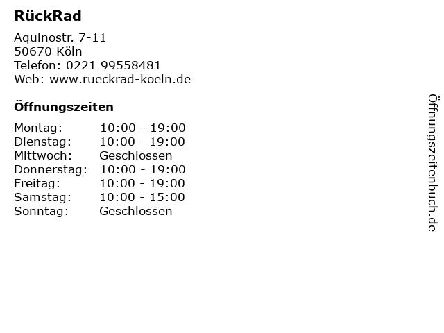 RückRad in Köln: Adresse und Öffnungszeiten