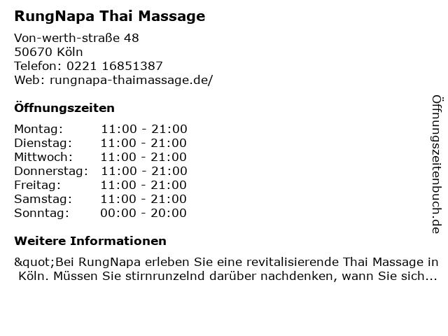 RungNapa Thai Massage in Köln: Adresse und Öffnungszeiten