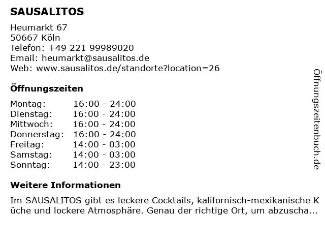 SAUSALITOS in Köln: Adresse und Öffnungszeiten