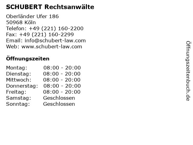 SCHUBERT Rechtsanwälte in Köln: Adresse und Öffnungszeiten
