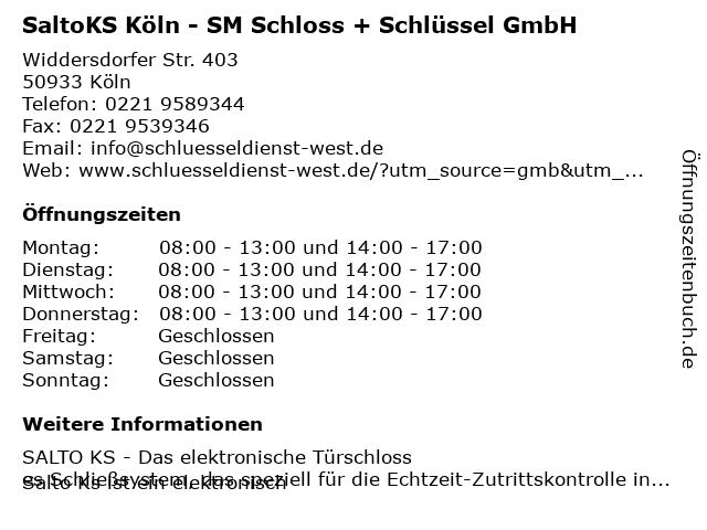 SM Schloss + Schlüssel GmbH in Köln: Adresse und Öffnungszeiten