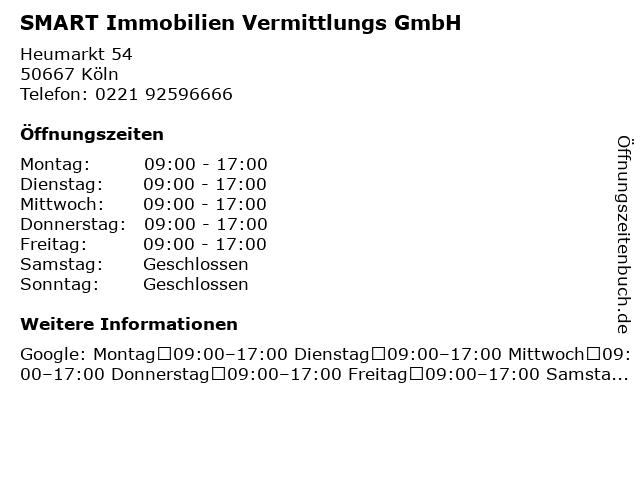 SMART Immobilien Vermittlungs GmbH in Köln: Adresse und Öffnungszeiten