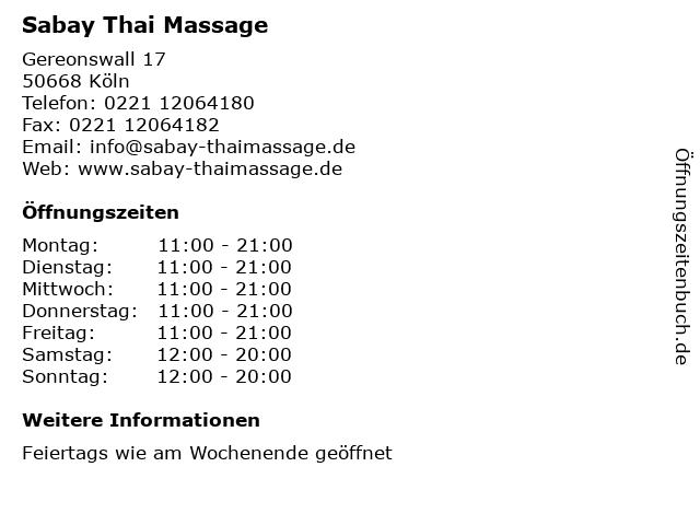 Sabay Thai Massage in Köln: Adresse und Öffnungszeiten