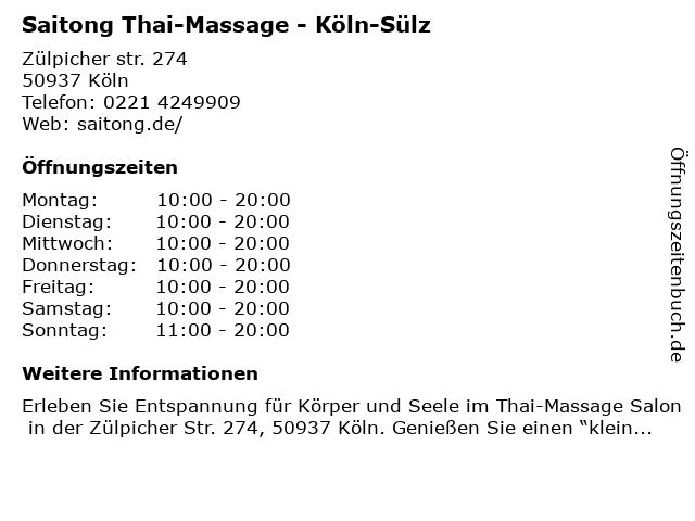 Saitong Thai-Massage - Köln-Sülz in Köln: Adresse und Öffnungszeiten