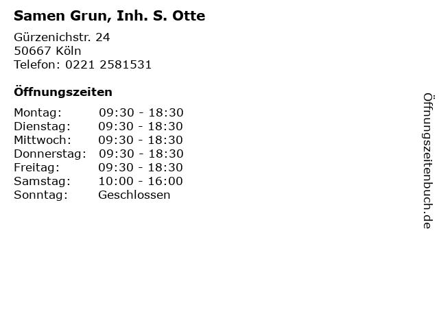 Samen Grun, Inh. S. Otte in Köln: Adresse und Öffnungszeiten